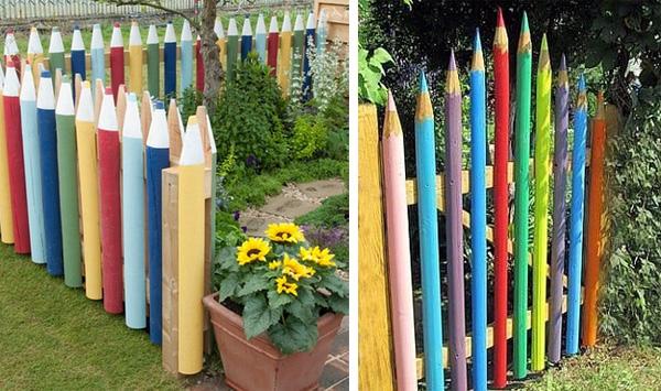 Забор из штакетника в форме цветных карандашей