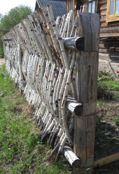 Вертикальный забор из тонких березовых стволов и веток