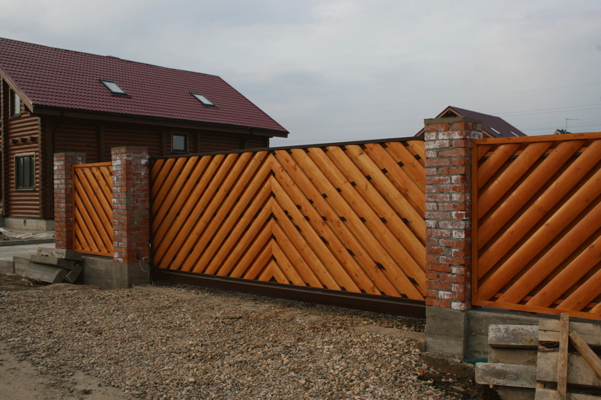 Ворота из блокхауса своими руками фото